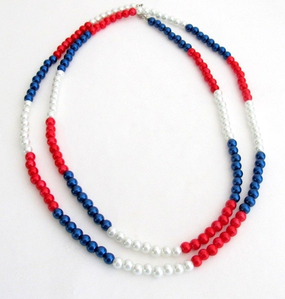 Patriotic Day Long Necklace Red White Blue Pearls Free Shipping In USA