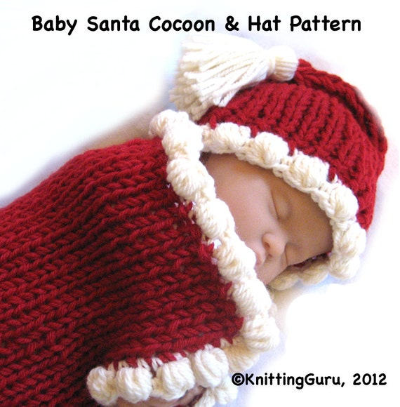 Quick Easy Crochet Baby Hat Pattern : Baby Santa Knitting Pattern Fast Easy DIY Christmas and