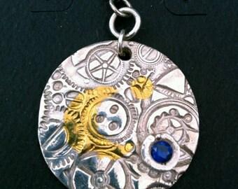 Steampunk Moon Silver & Gold Pendant