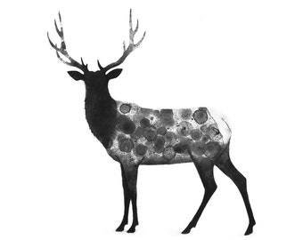 Elk Ink Bubble and Charcoal Original Painting