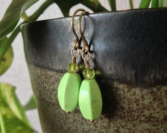 Bright Green Magnesite and Gold Drop Earrings