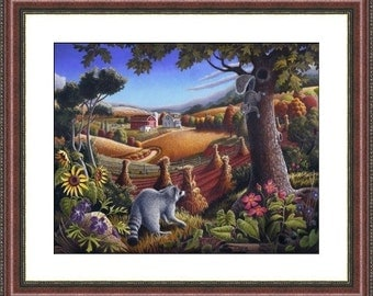 Farm Art, Raccoon & Squirrel Appalachia Landscape Framed Matted Print, Rustic Home Decor, Folk Art, farm house chic, design style guide