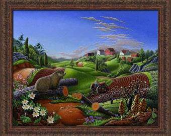 Springtime On Farm, Framed Canvas Print, Groundhog, Woodchuck, Spring Country Landscape, Americana, Folk Art, Americana, Spring