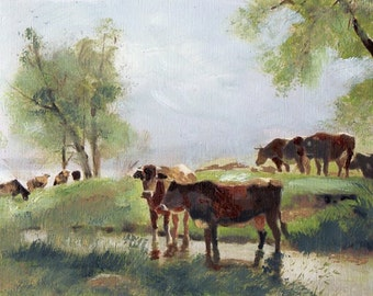 Just Grazing 8x10 Canvas Giclee Print of Original Cows Oil Painting by Kathleen Farmer Denver Artist