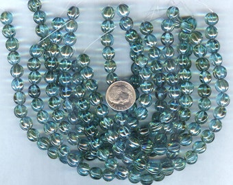 Aquamarine Celsian Melon-Fluted Czech Glass Round Beads 8mm 25pcs