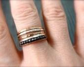 petite hematite stack ring ... 14k gold fill