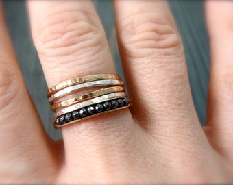petite hematite stack ring ... 14k gold fill