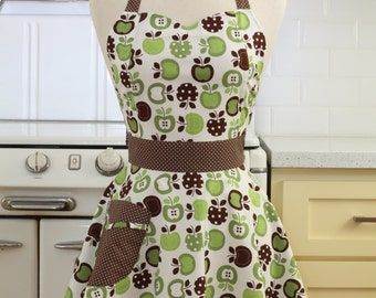 Retro Apron Green and Brown Apples on White- BELLA