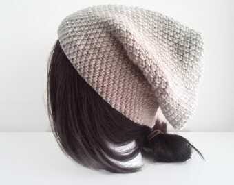 Pure Wool Slouch Hat Oatmeal Toque Natural Beige Unisex TALLY Ready to Ship