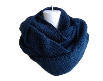 Infinity Scarf Navy Blue Neckwarmer Loop Men Women SAMANTHA Made to Order