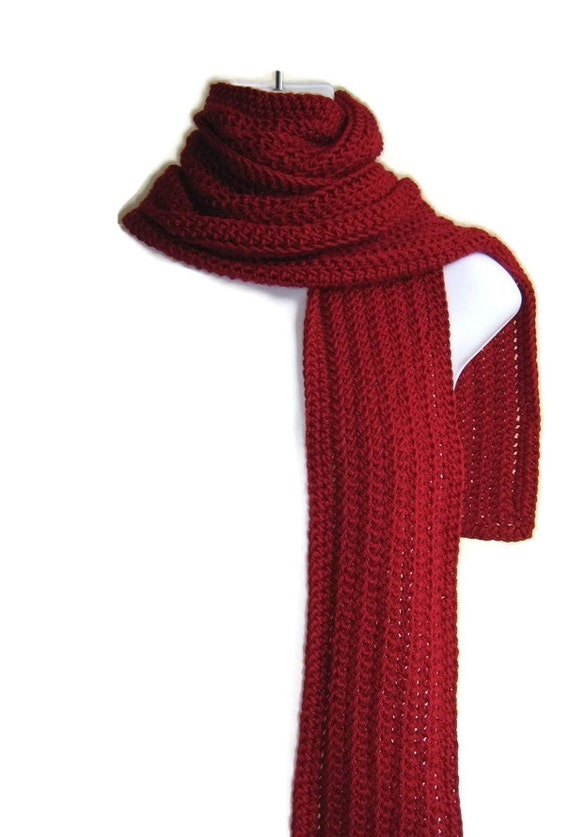 Solid Red Scarf Classic Men Unisex Gable By Smittenkittenorig