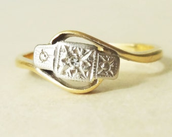 Antique Geometric Diamond Trilogy Ring, Art Deco Diamond, Platinum & 18k Gold Engagement Ring Approx Size 7.5