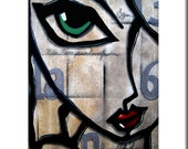 Abstract painting Art print modern pop Contemporary colorful face decor by Fidostudio