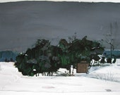 February 1, Coming Storm, Orignal Landscape Painting on Paper, Stooshinoff