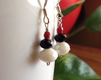 Red, Black and White Crystal Earrings