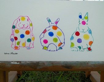 Poka Dots Bunny Rabbit Line Up Watercolor Bunny Art Original Painting by Artist Debra Alouise