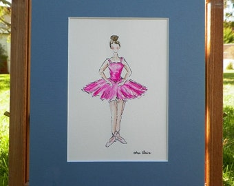Ballerina Pink Tutu Dress Watercolor Childrens Fashion Illustration Kids Art Original Painting by California Artist debra alouise