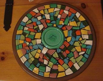 Mosaic Tile Art Home Decor Kitchen Lazy Susan Vintage Colorful Broken Plate Solid Colors