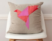 Red Paper Bird Origami Silk and Linen Pillow - 18 Inches