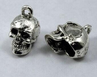 15mm Antique Silver Cast Metal Skull Charm #CMA753