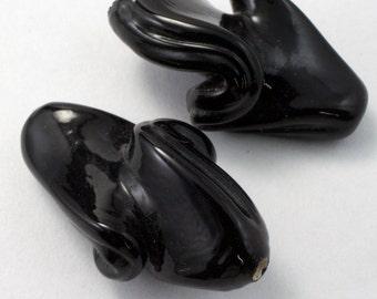 32mm Black Twist Bead (2 Pcs) #2912