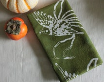 olive green bird tea towel