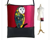 Clara Nilles Cross body purse, small shoulder bag, mini pouch sling bag fits iPhone 6 Plus, owl, red pink RTS