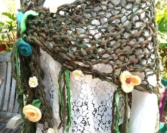 Forest Fairy Handspun Handknit Boho Shawl, Needle-Felted & Silk Flowers, Sari Silk, Greens, Includes Wooden S