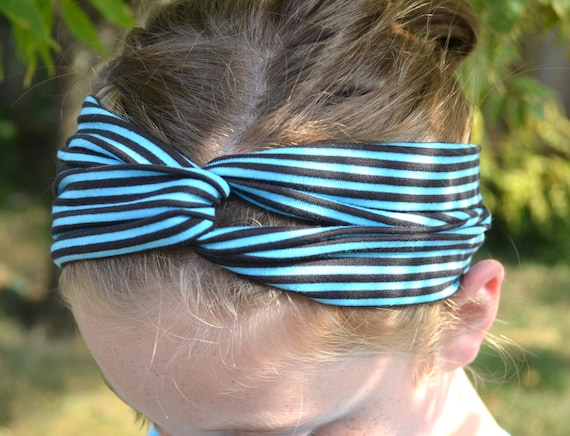 NEW Turban Twist Headband - Turquoise Blue and Black Stripe