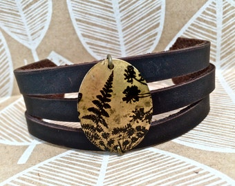 Leather Pendant Bracelet Cuff Layered, Choose Print & Color, Fern, Tree, Chevron, Leaves, Owl, Bird, Feather