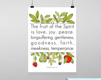 Scripture Printable Wall Art Galatians 5 Instant Download Typograpy Fruit Of The Spirit