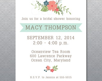 Floral Shower Printable Invitation Digital Shower Invitation Bridal or Baby Shower Invitation