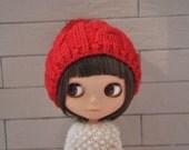 Babydoll Pom-Pom Hat for Blythe Doll-Red