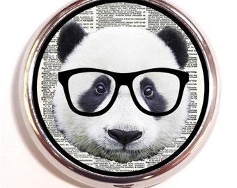 Panda Nerd Pill box Pill Case Holder Pillbox Kitsch Hipster Anthropomorphic Animal in Eyeglasses Guitar Picks Vitamins Medicine Holder