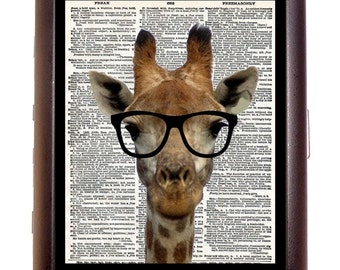 Giraffe Nerd Cigarette Case Anthropomorphic Animal Nerdy Geek Altered Art Kawaii ID Business Card Credit Card Holder Wallet