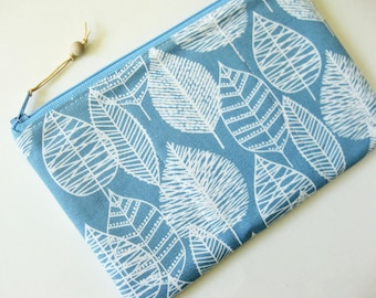 Zipper pouch white forest on light blue winter leaf tree snow quilted zipper pouch padded zipper pouch makeup bag