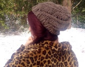 Chunky knit spiral lace beanie in recycled brown wool - one of a kind - warm slouchy beret