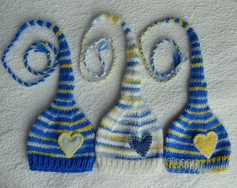 SALE Knit Newborn Boy TRiPLET Hats BaBY PHoTO PRoPS 3 RTS Long Tail Stocking Hats BLuE WHiTE YeLLoW Stripe CoMiNG HoME Heart Munchkin Beanie