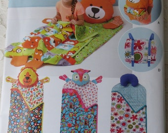 Simplicity 1389 or S0615 Sewing Pattern Childs Nap Packs Bear Owl & Lion Sleeping Bags