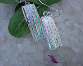 Dichroic Glass Earrings -Clear Rainbow Colored Long Glass Dangle -  Mexico Fashion - Made in Mexico- Dichroic Glass Mosaic Jewelry
