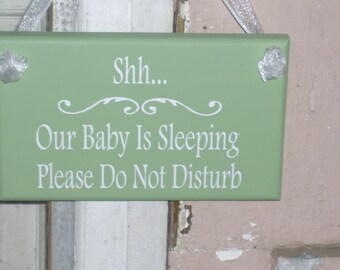 Shh Our Baby Is Sleeping Please Do Not Disturb Wood Vinyl Sign Whimsical Green Cottage Swirl Design Mom Dad Parent Gift Present Door Hanger