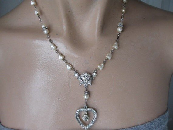 Vintage stanhope heart antique paste faux pearl repurposed necklace
