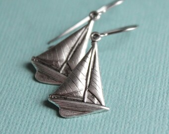 Silver Sailboat Earrings - Surgical Steel Earwires