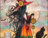 Witch Way - Halloween Witch and Black Cat Giclee Print of Original Painting by Molly Harrison Fantasy Art