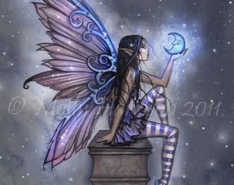 Little Blue Moon Fairy Fantasy Art Giclee Print 9 x 12 by Molly Harrison Fantasy Art
