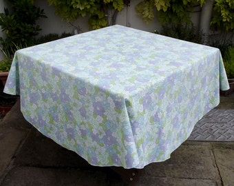 Vintage Circular Tablecloth - White, Lilac, Green and Blue Floral Pattern