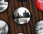 Metallic Detroit Skyline Pins - Set of Three