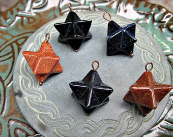 Gemstone Merkaba Pendant in brown or blue goldstone great for energy and intentional work
