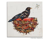 Crow Moon Psychedelic Nest Wood Print