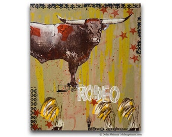 Midnight Rodeo Western Cow Wood Print